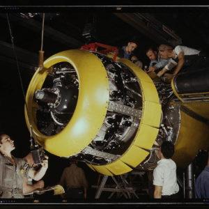 wokers on a B-52 engine
